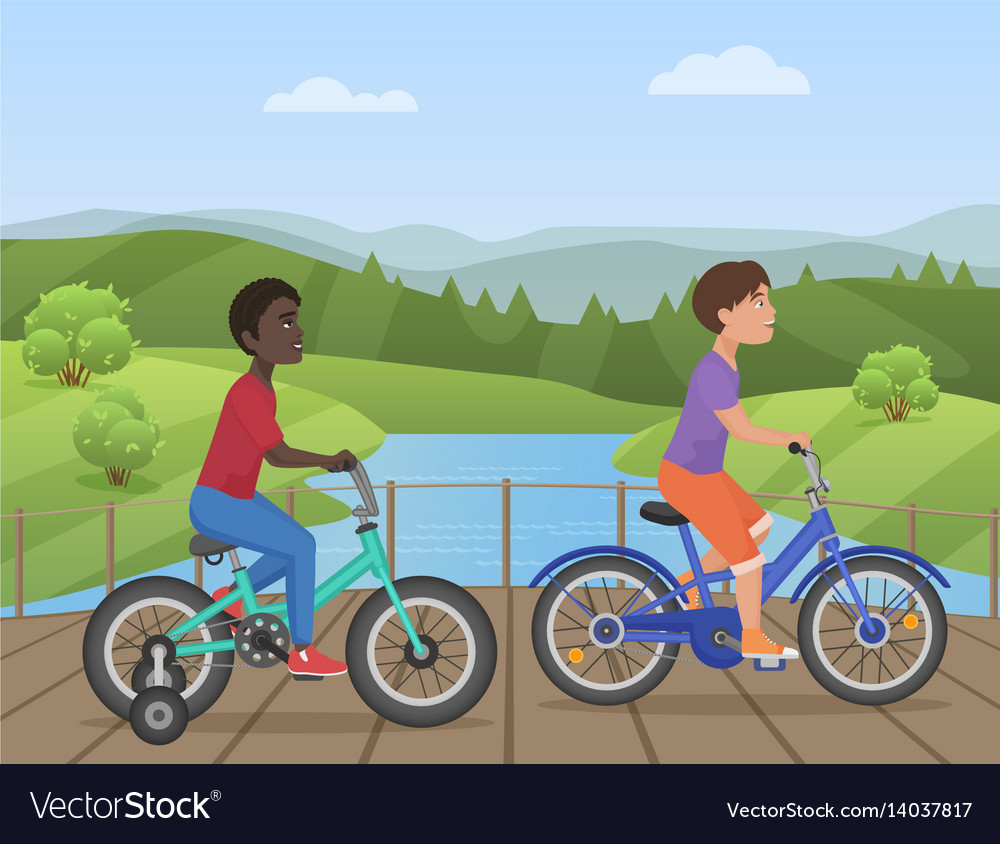 White and african kids riding bikes child riding vector image