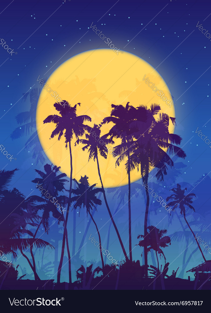 Yellow moon with dark blue palm silhouettes poster