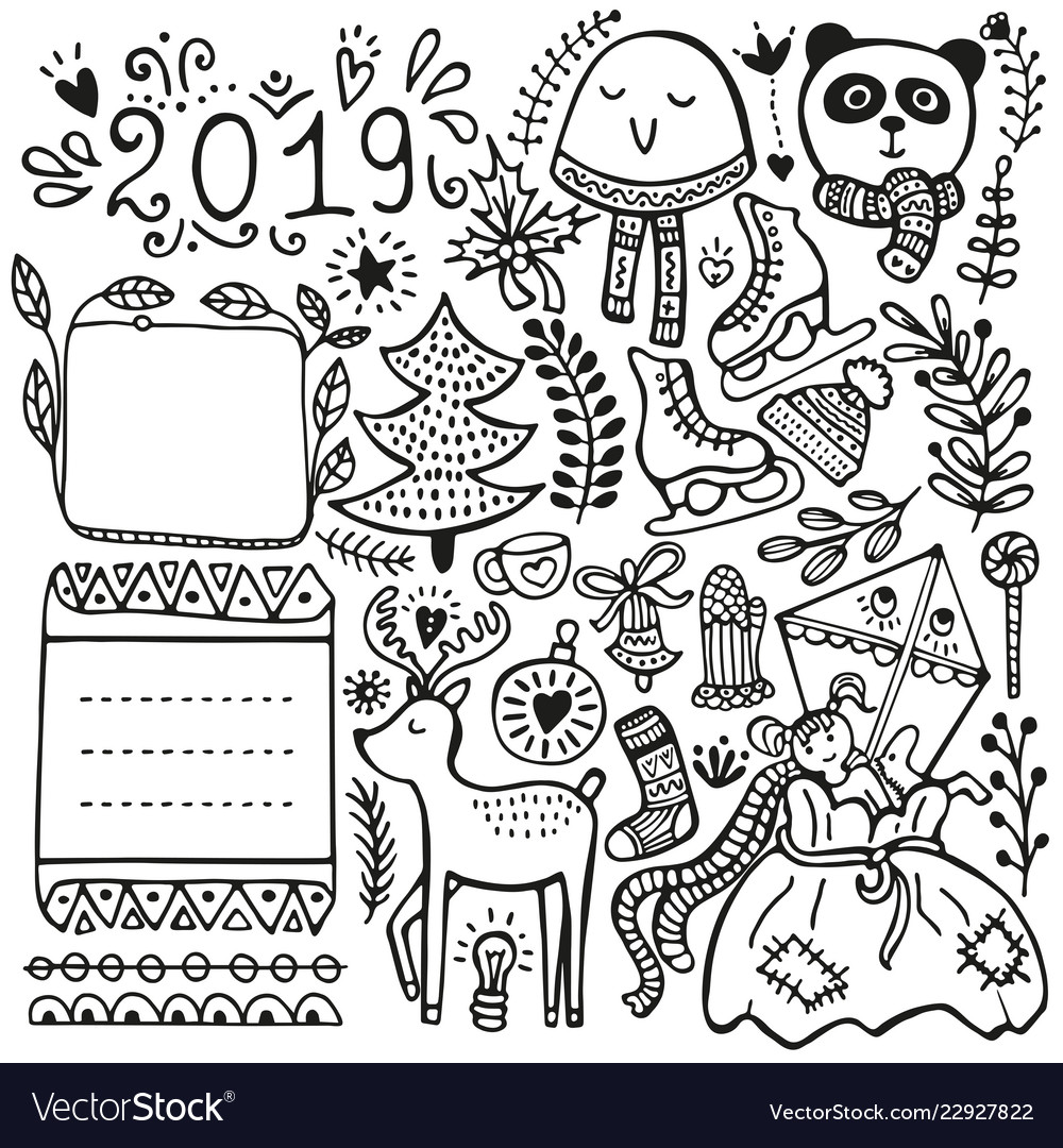 Bullet journal and winter doodle elements