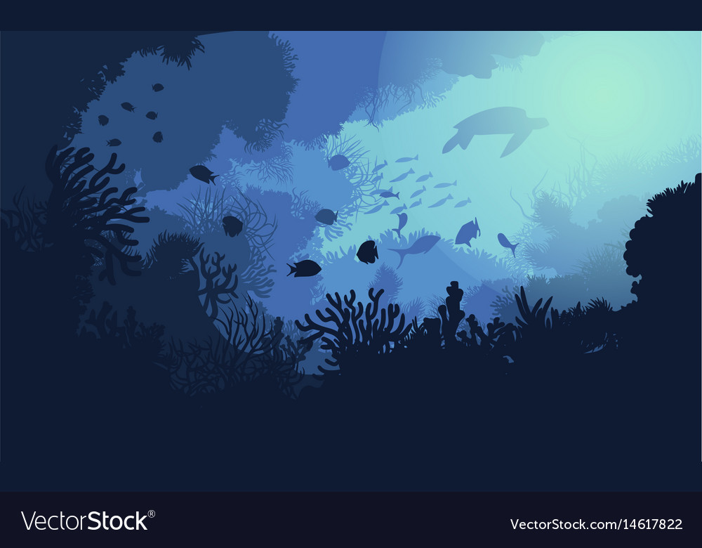 Colorful underwater life template vector image