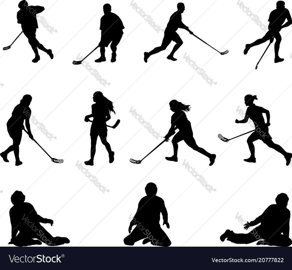 Floorball player silhouette men women goalies