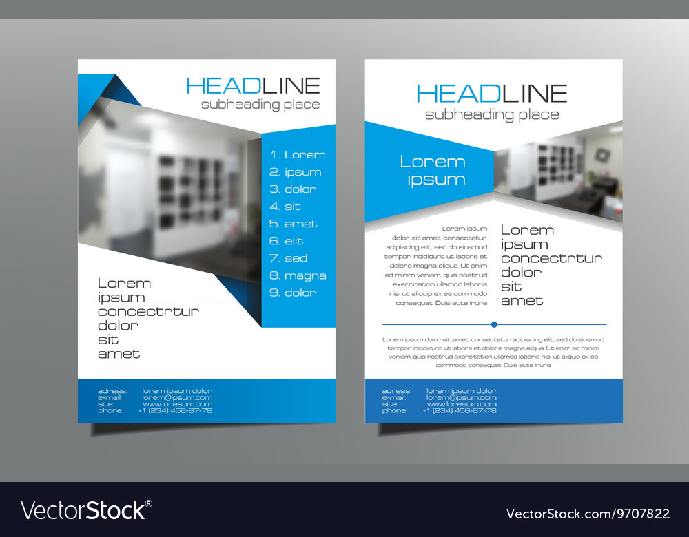Grey blue brochure flyer template design