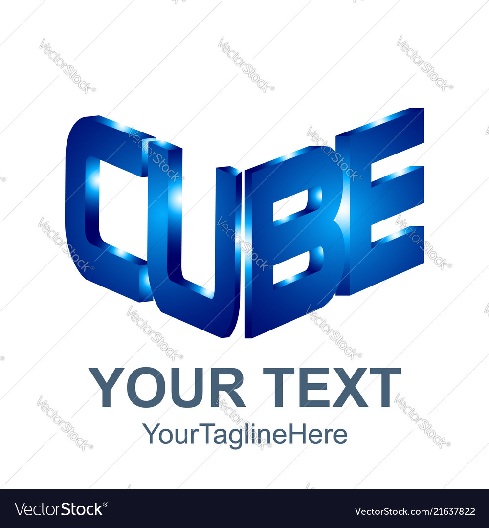 Initial word cube logo template 3d cube word