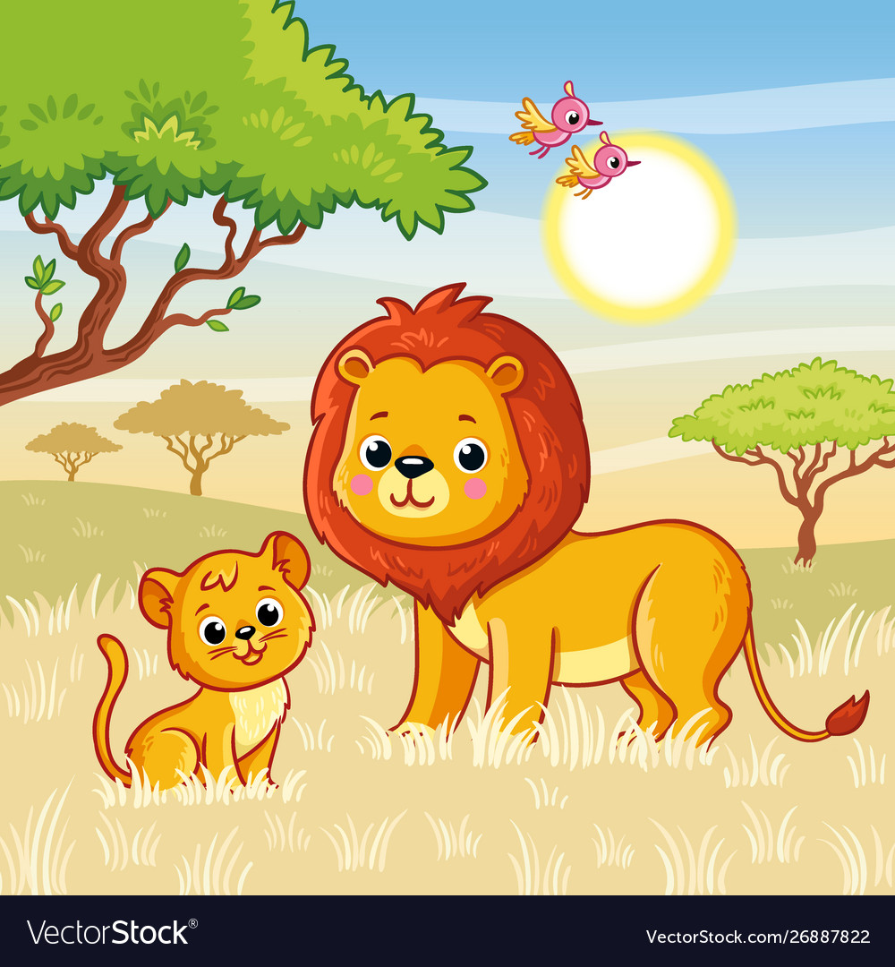 Lion and a lion cub are standing on grass in