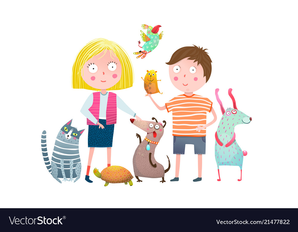 Little boy and girl in pet shop