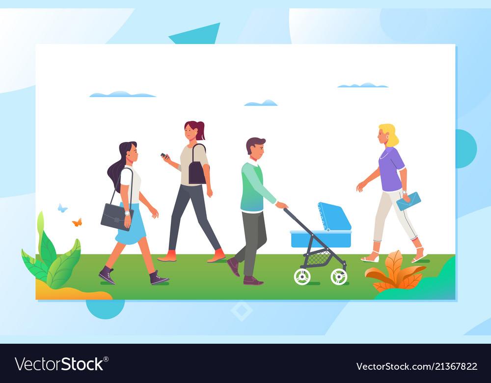 People walking in city park cartoon