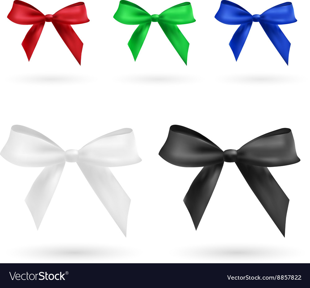 Red green blue black and white bow vector image