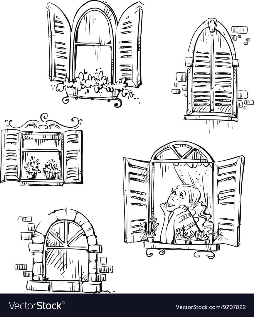Set hand drawn windows