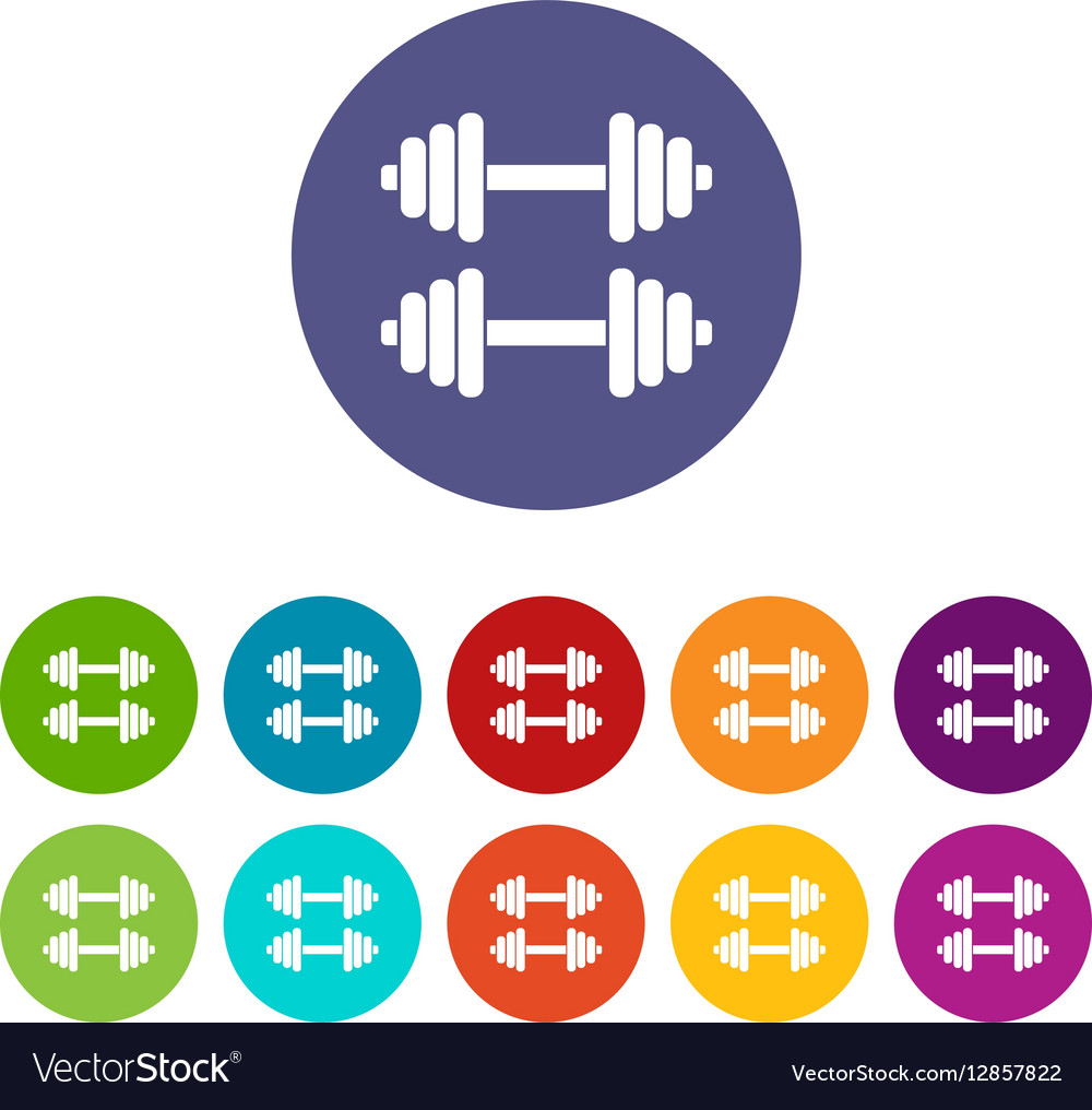 Two dumbbells set icons