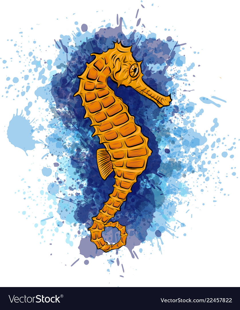Watercolor Seahorse In The Royalty Free Vector Image