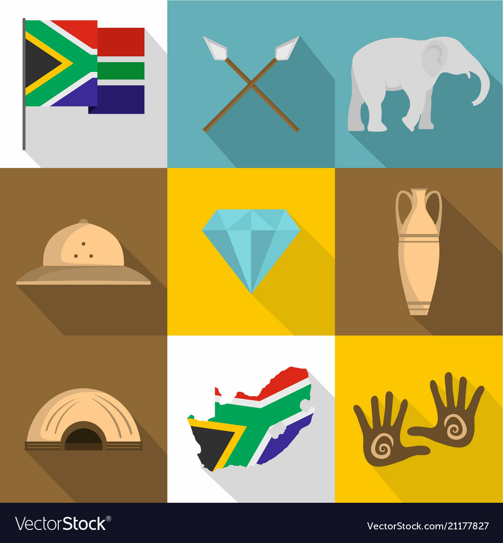 African people icons set flat style