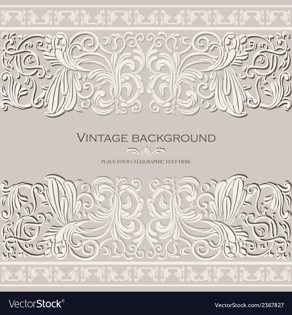 Antique vintage card victorian gold ornament vector image