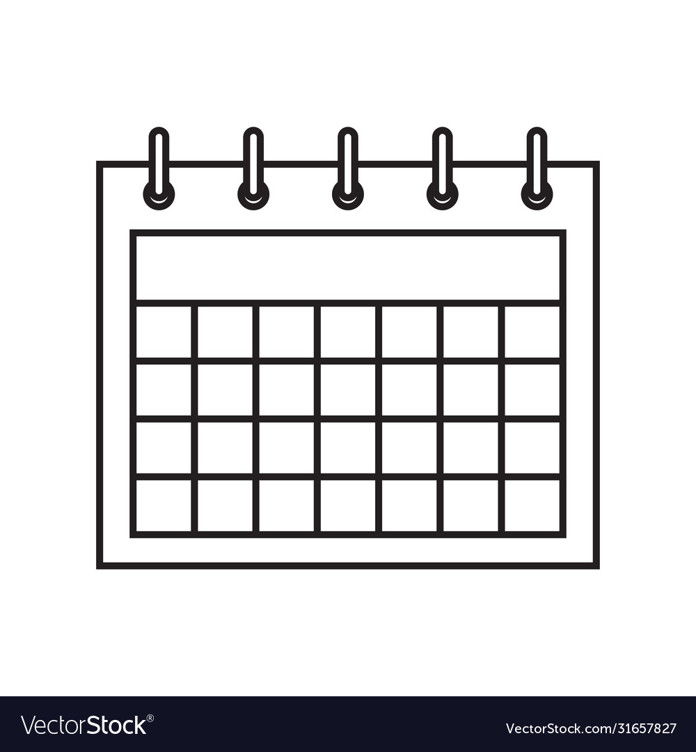 Calendar icon in flat style calendar on wall