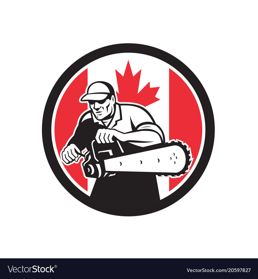 Canadian tree surgeon chainsaw canada flag