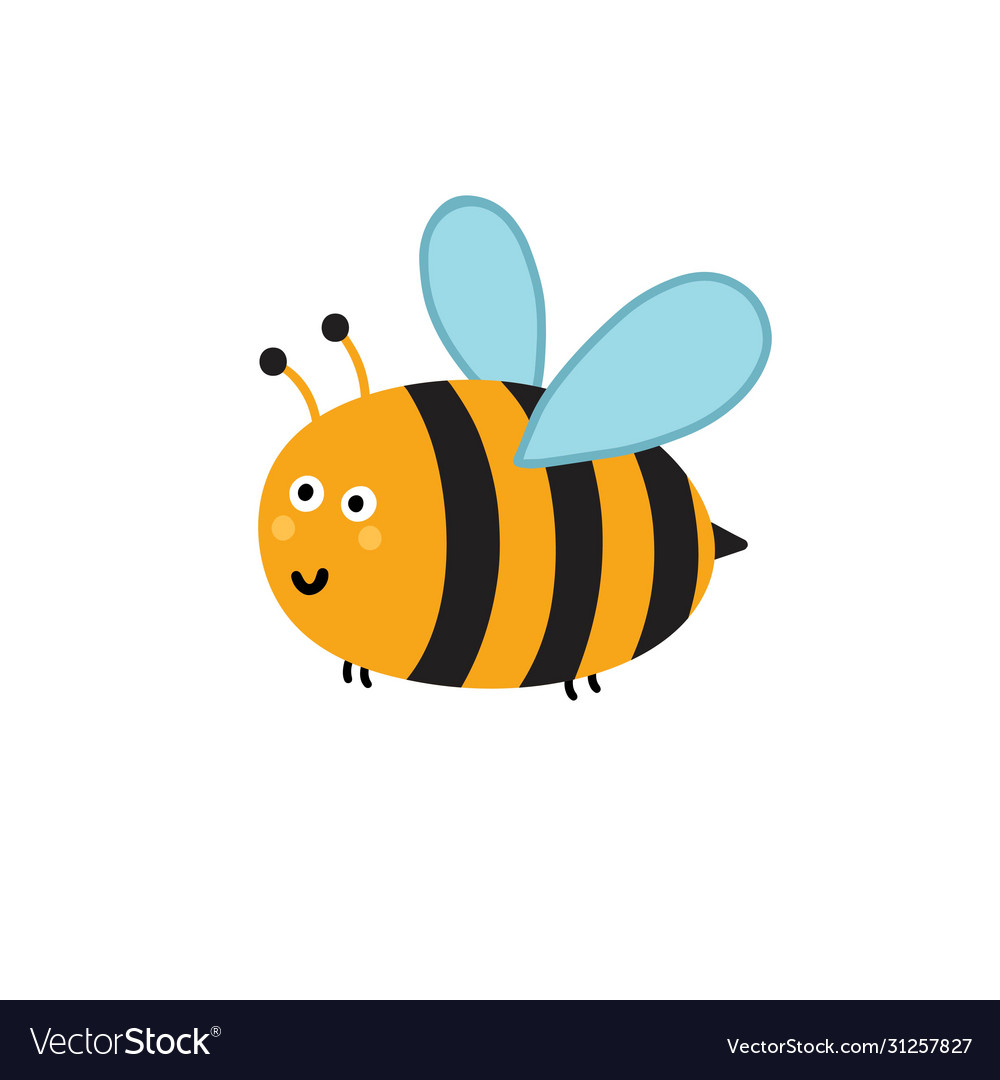 Cute little bee isolated element funny insect