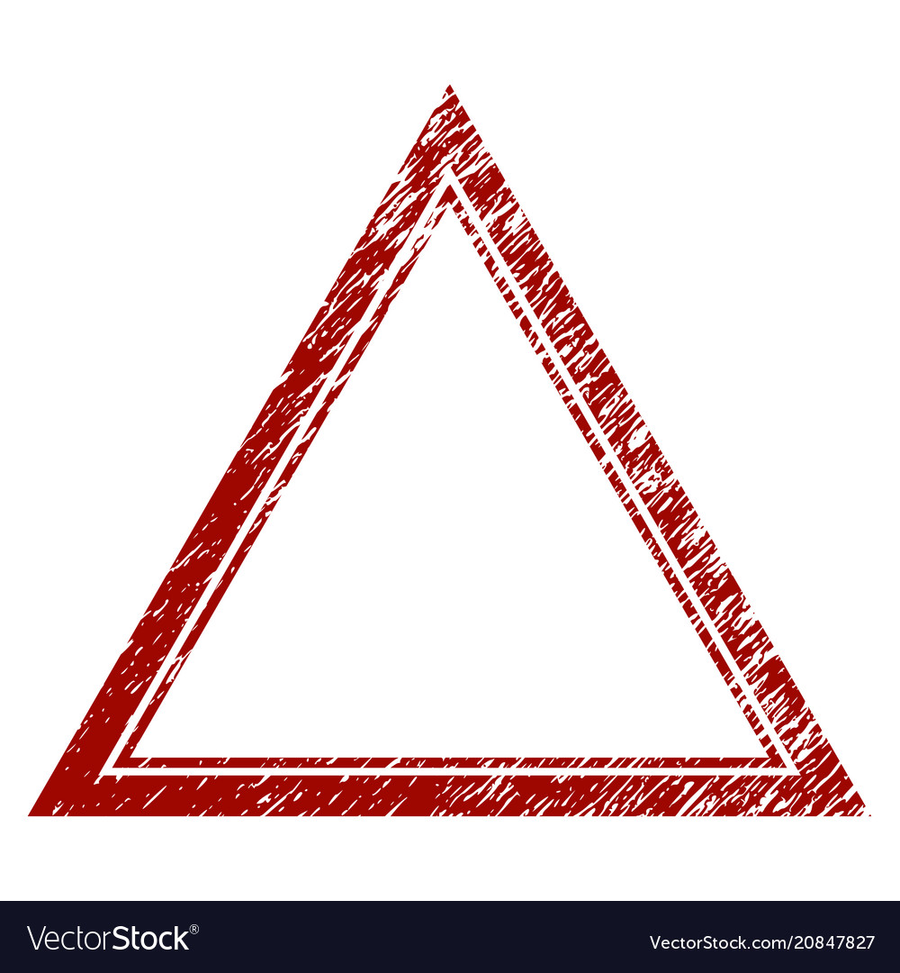Distress textured double triangle frame Royalty Free Vector