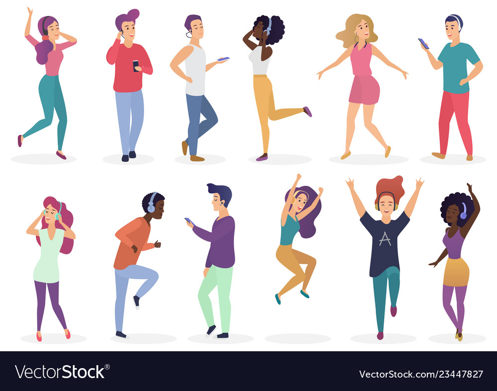 Diverse people dancing and listening music with