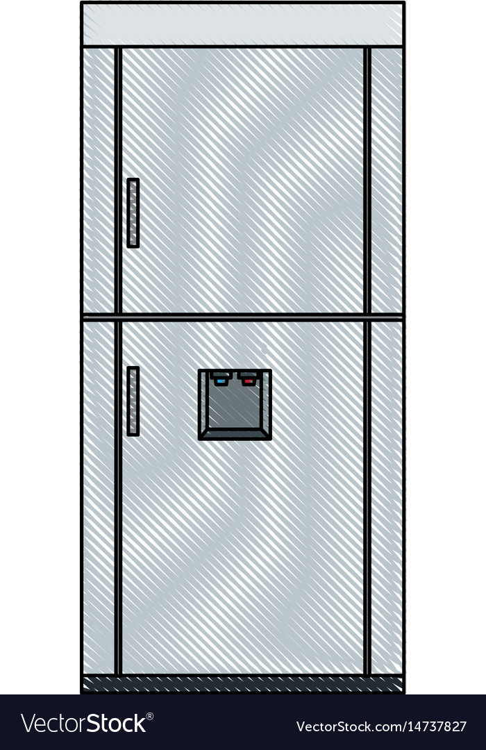 Drawing refrigerator freeze modern stainless vector image
