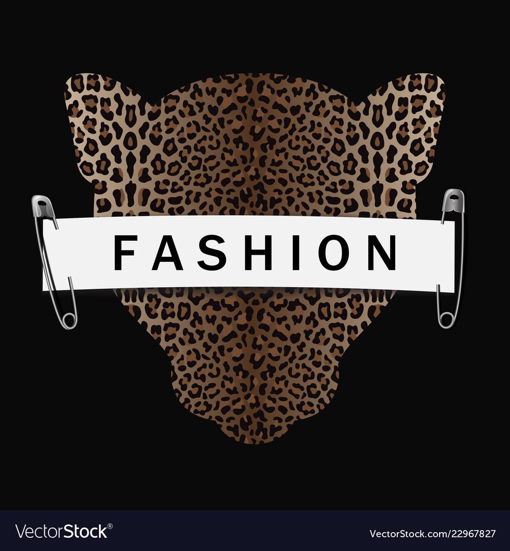 Fashion t-shirt print with leopard head silhouette