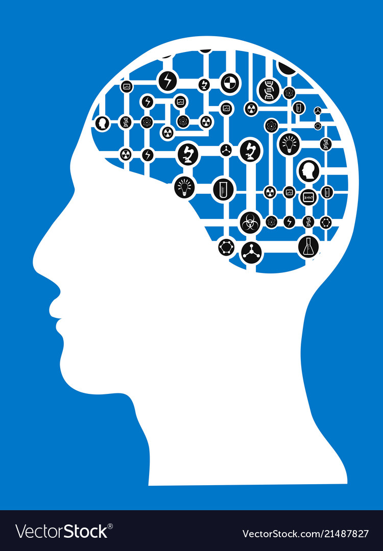 Human head with connected network brain