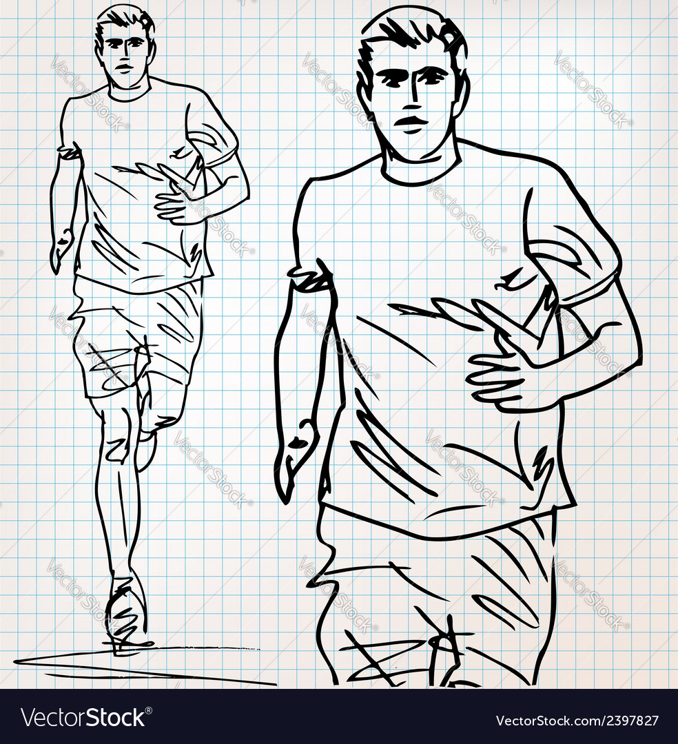 Male runner sketch