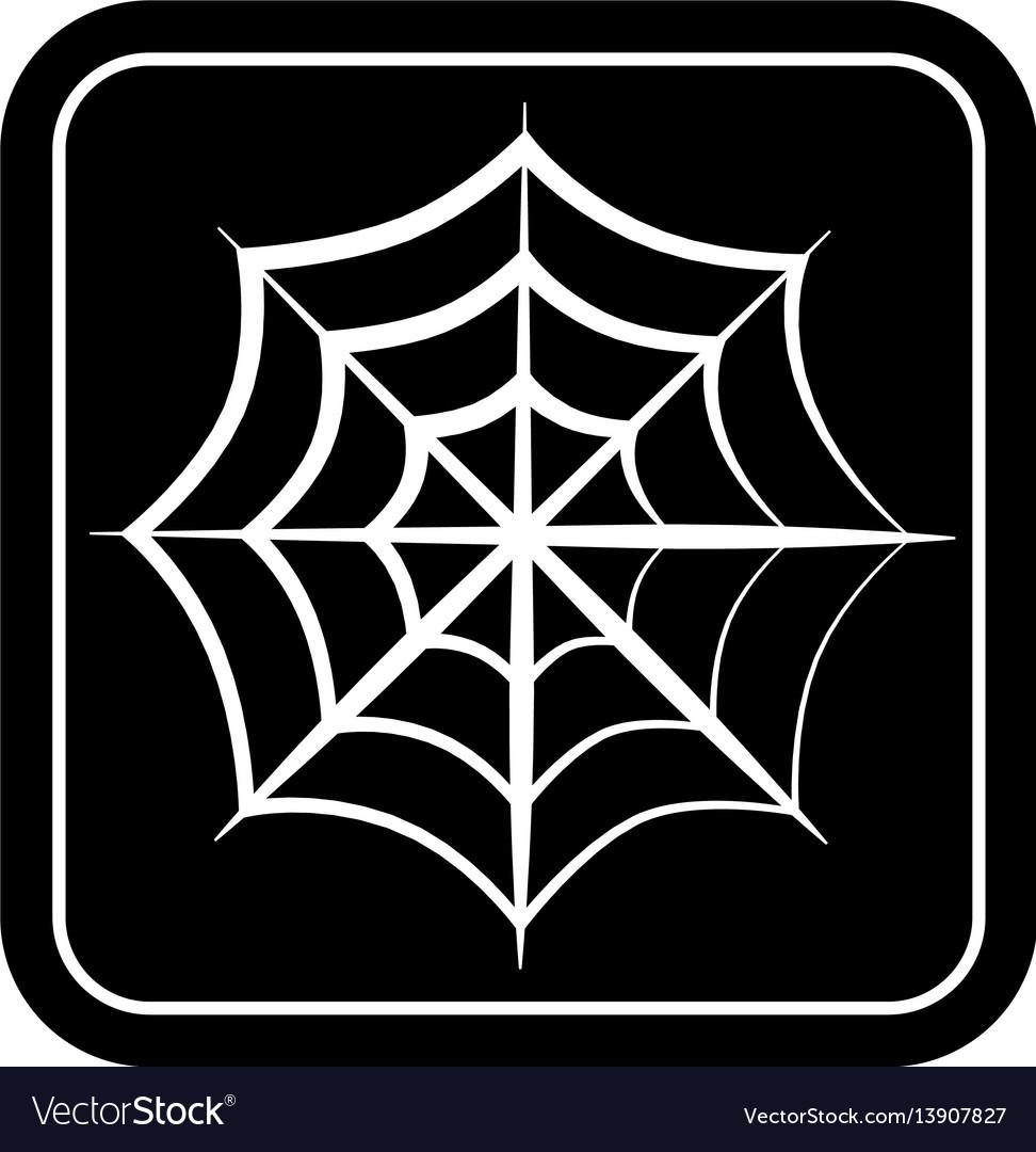 Monochrome square silhouette with spiderweb vector image