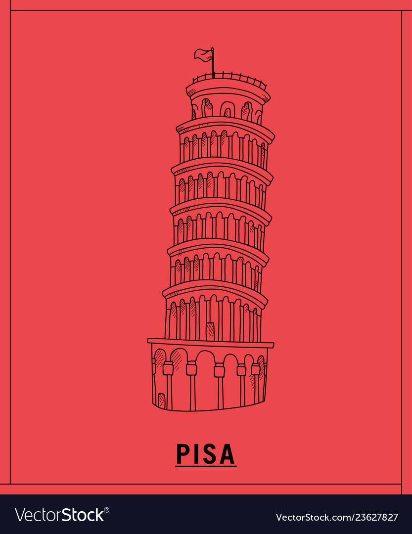 Pisa tower leaninghand drawn sketch