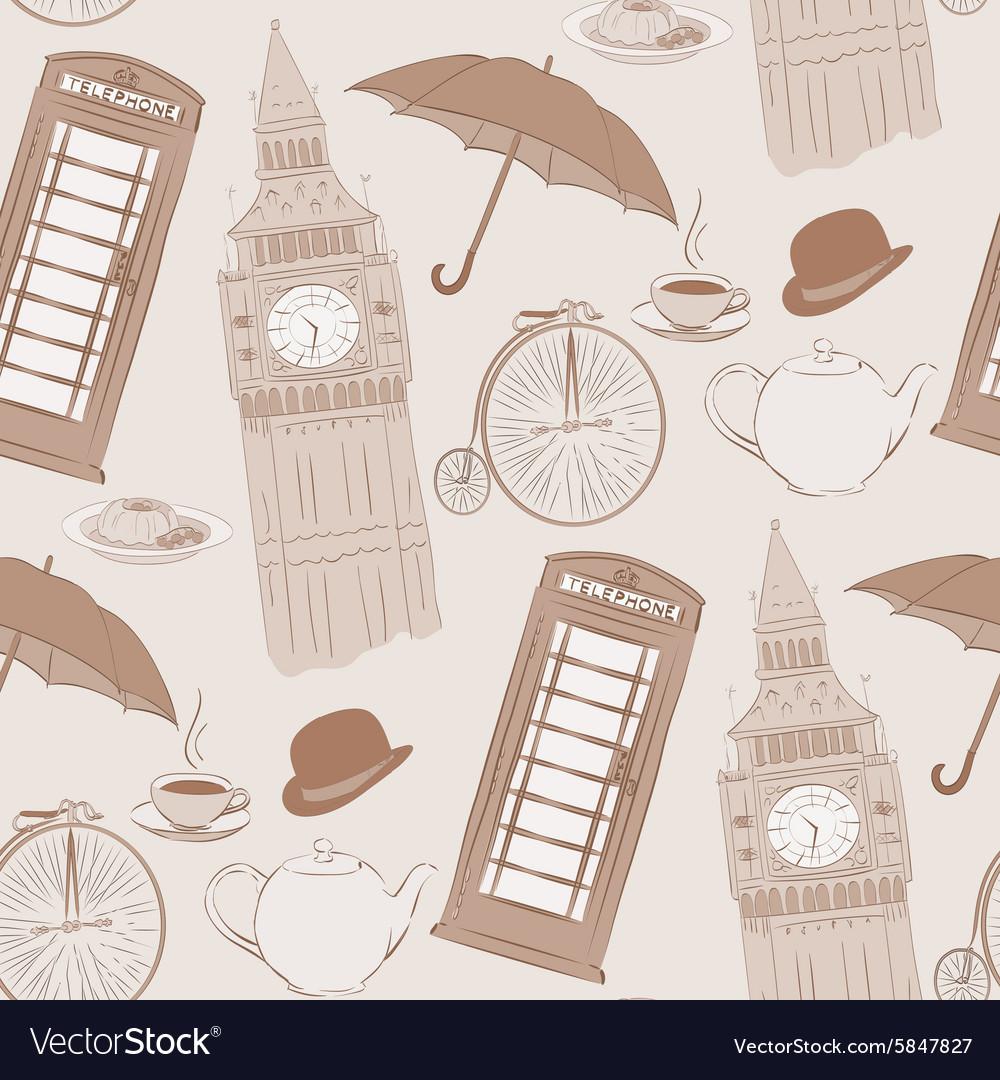 Retro hand drawn London pattern vector image
