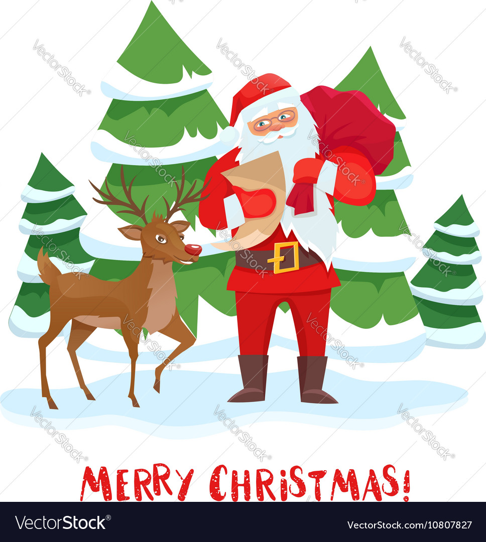 Santa Claus and reindeer Christmas tree
