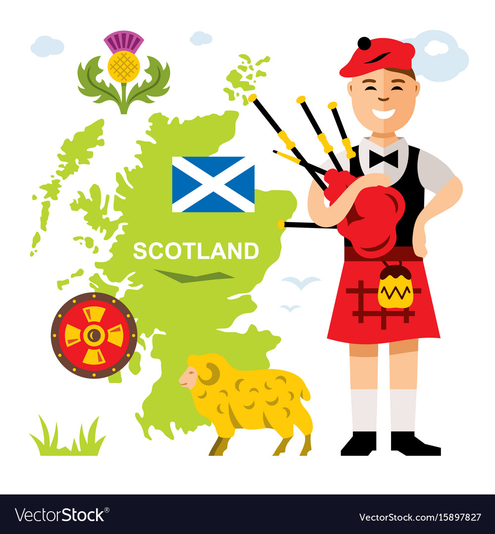 Scottish bagpiper flat style colorful vector image