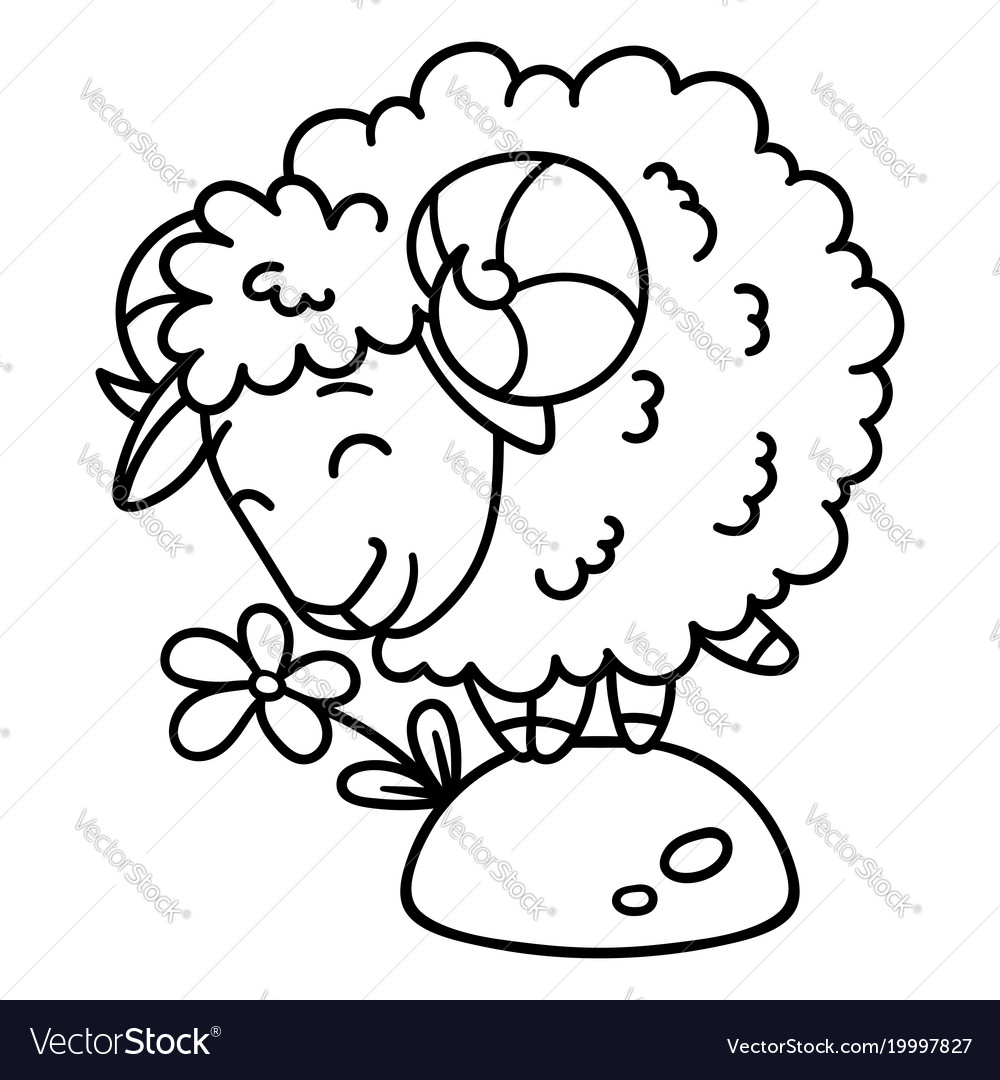 Sheep with a flower coloring pages Royalty Free Vector Image