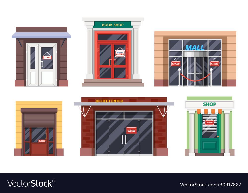 Shop entrance door office mall facades icons