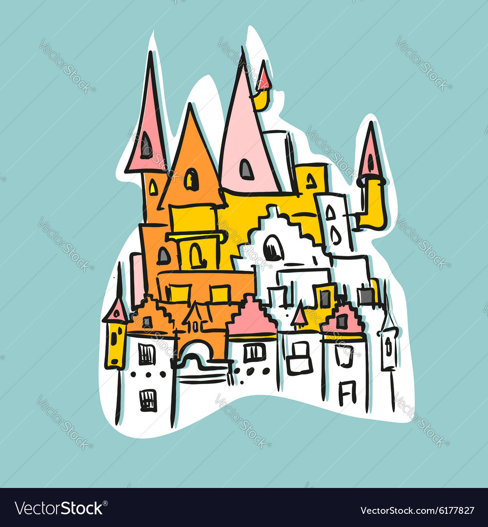 Sketch Royal Castle with towers Historical fantasy vector image