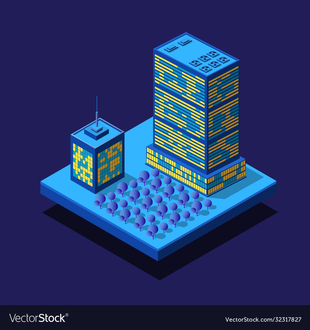 Smart city night neon ultraviolet set buildings