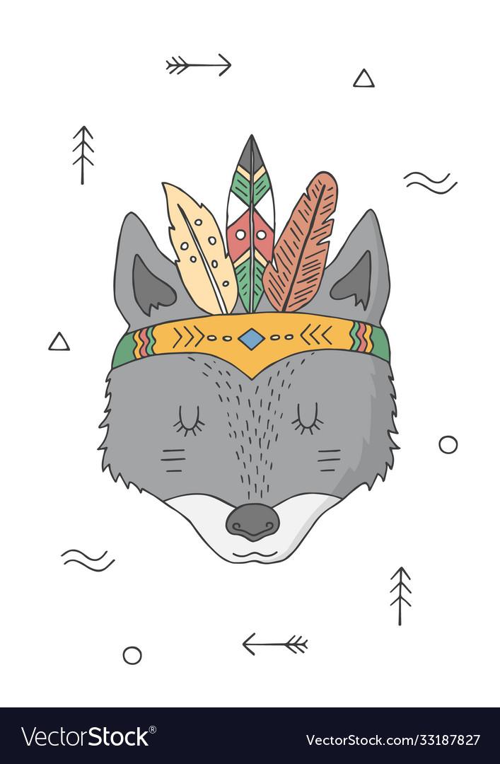 Wolf in a headdress indians cartoon character
