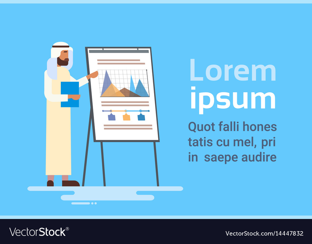 Arab business man presentation flip chart finance
