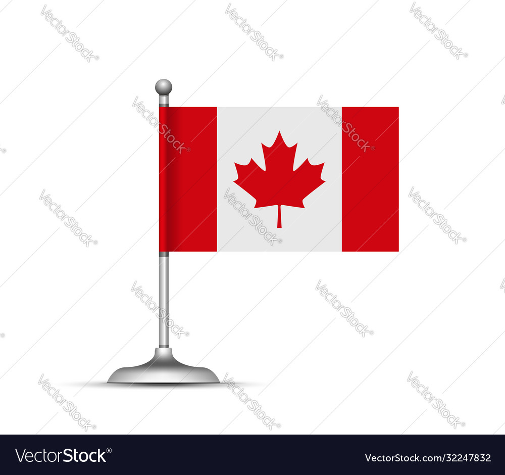 Canadian flag standing on white background