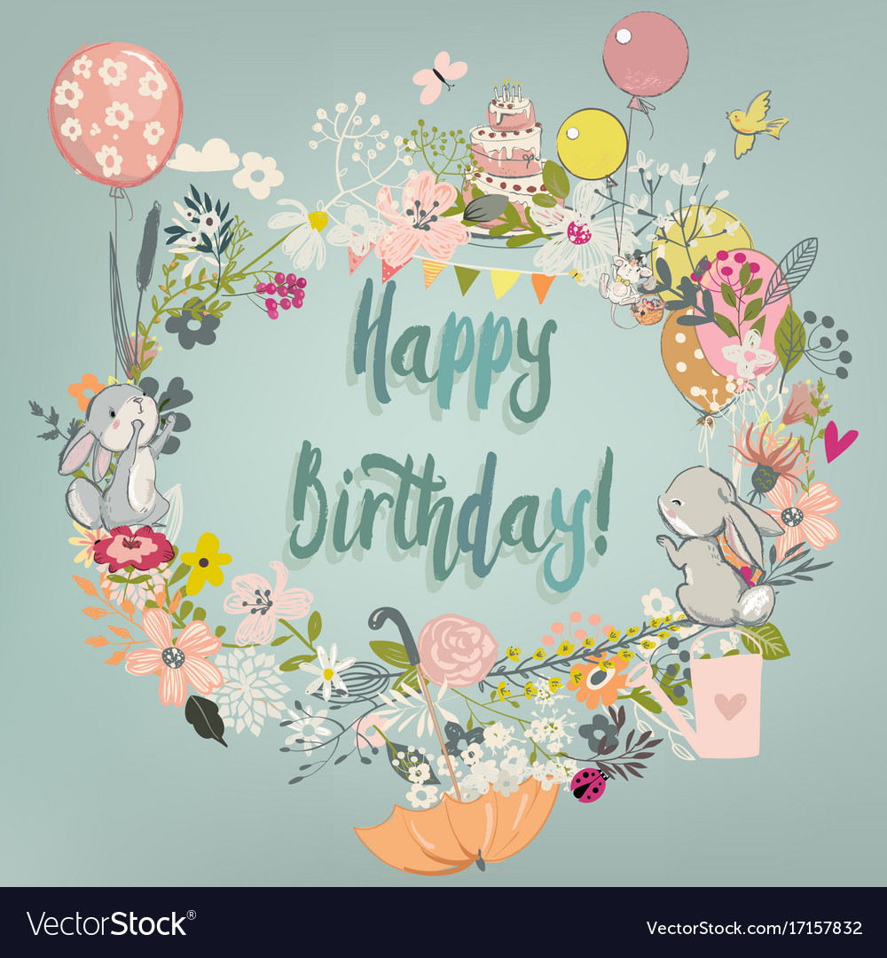 Cute hares with floral wreath vector image
