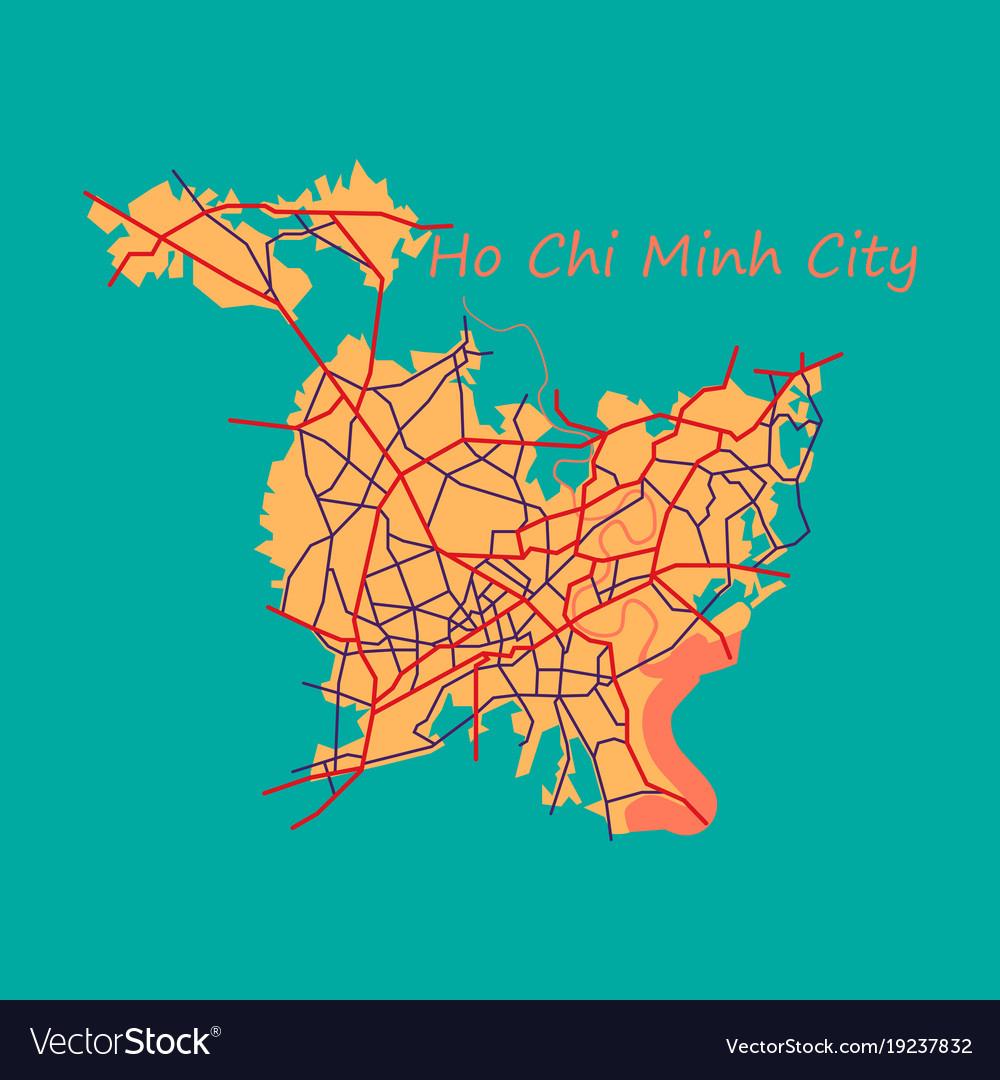 Ho Chi Minh Vietnam Map.Flat Ho Chi Minh City Administrative Map Vector Image