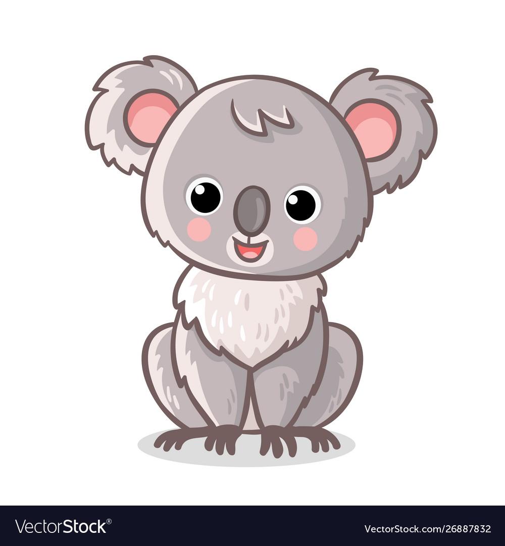 Fluffy koala is sitting on a white background