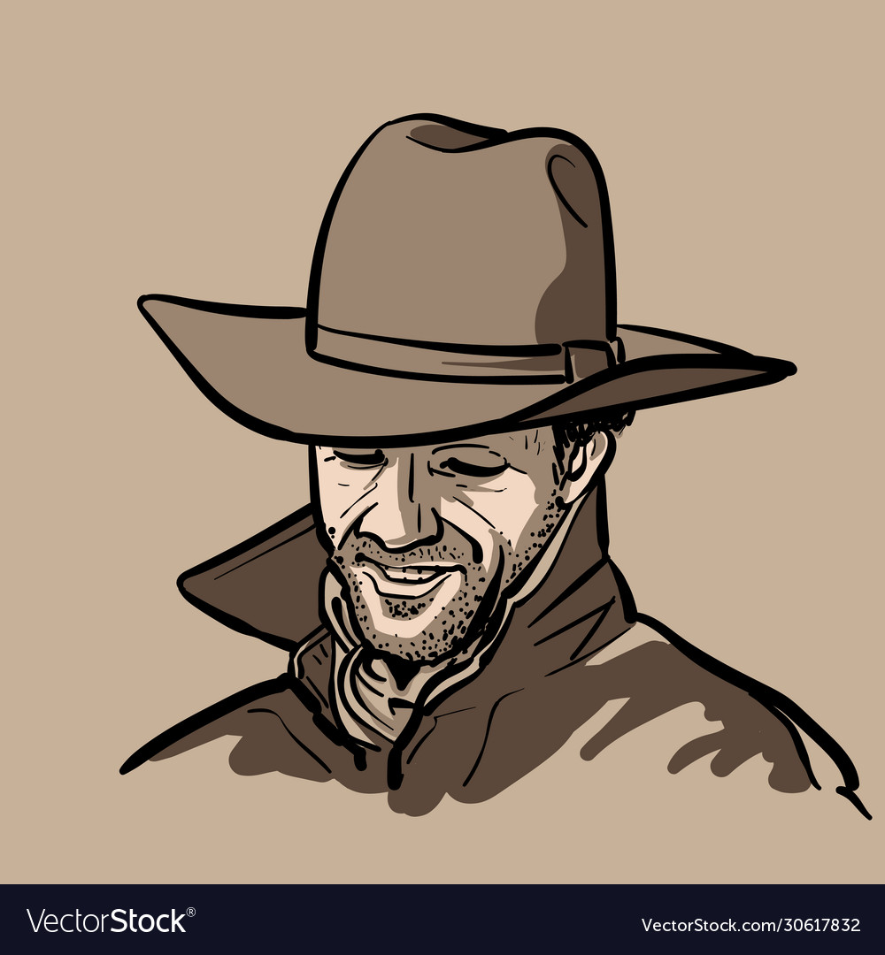 Man with cowboy hat and shirt and slicker