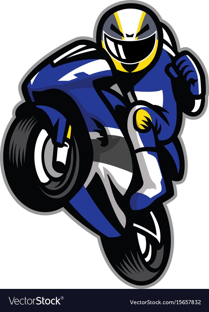 Motorcycle racer wheelie vector image