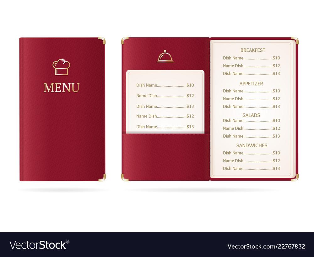 Realistic detailed 3d menu restaurant set