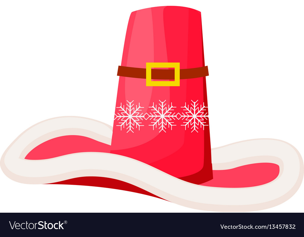 Santa claus cowboy hat with snowflakes isolated Vector Image e87364f23af