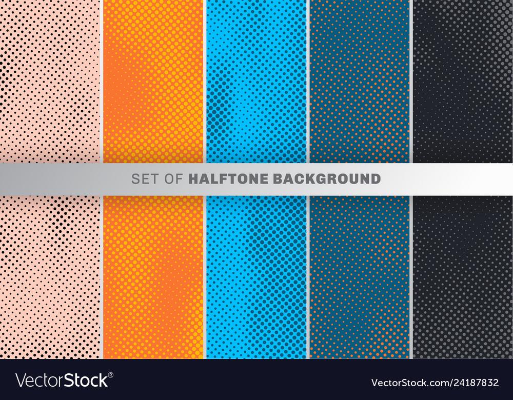 Set of dots pattern design on orange blue black