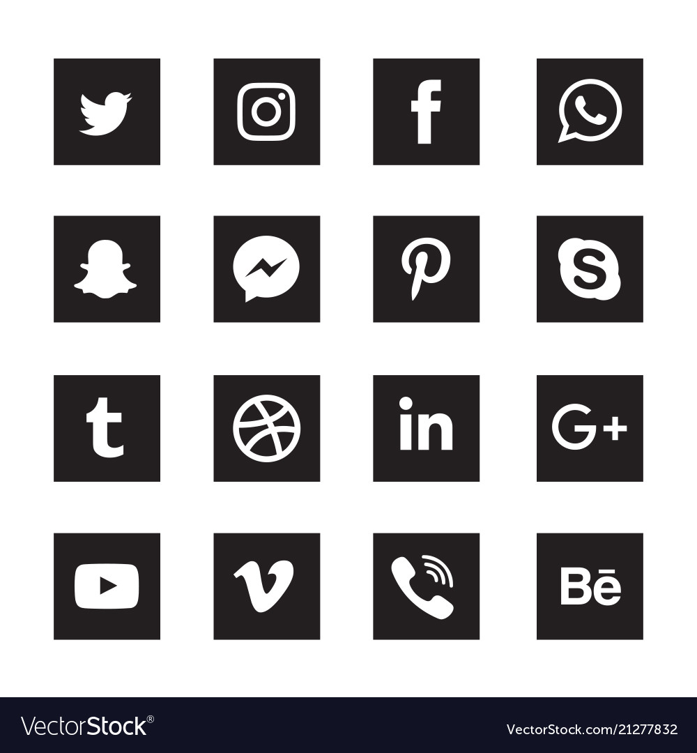 Social media black square icons set