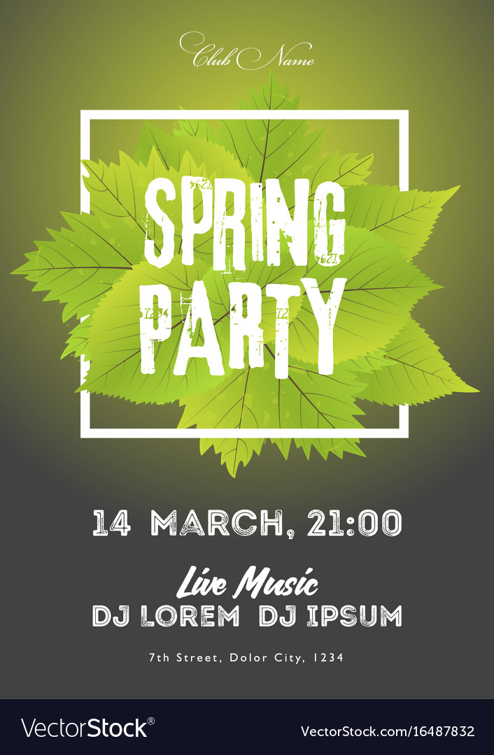 Spring night club party flyer invitation poster vector image stopboris Images