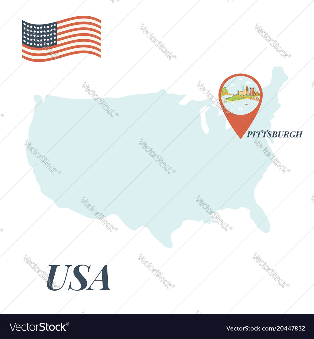 Usa Map With Pittsburgh Pin Travel Concept Vector Image