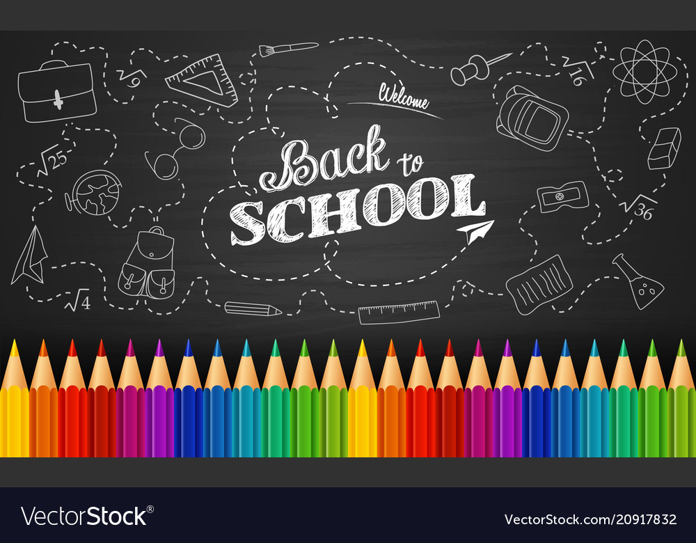 Welcome back to school with colored pencils