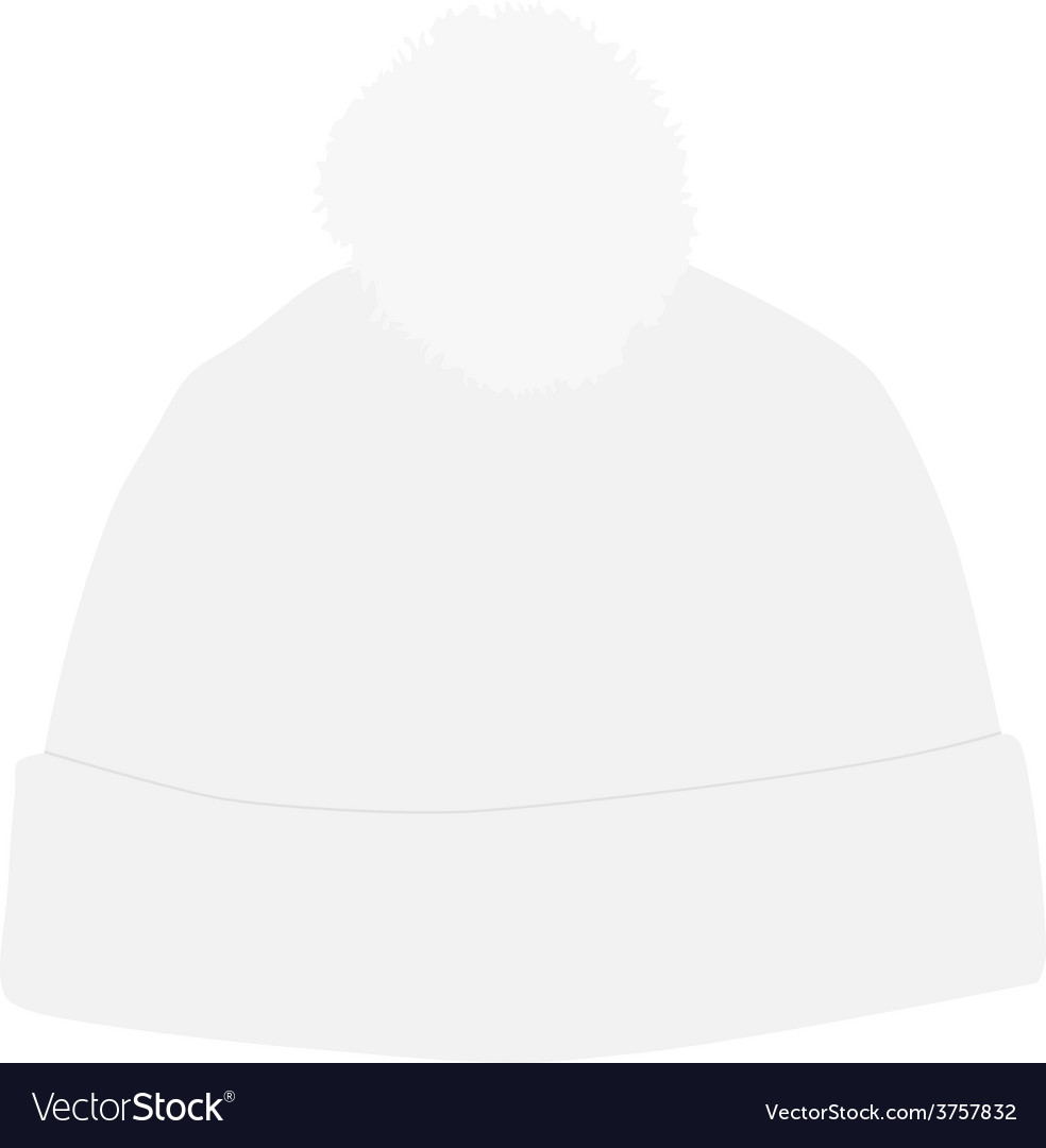 fe7d24f4b8865 White winter hat with pompom Royalty Free Vector Image